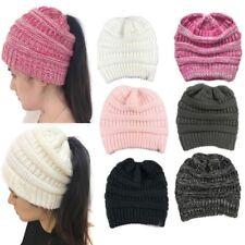 1Pc la mode des femmes est hiver chaud stretch bonnet bun ponytail beanie