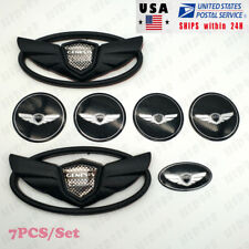 7pcs/Set 3D Black Genesis Wing Badge Emblem Sticker For Hyundai Genesis Coupe