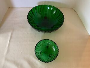 2 Vintage Anchor Hocking Forest Green Glass Oyster Pearl Bubble Footed Bowls