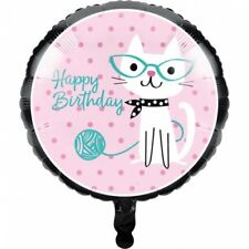 Purr-Fect Kitty Cat Party Happy Birthday Foil Balloon Girls Birthday Party