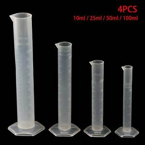 4pcs Plastic Measuring Cylinder Trial Liquid Tube Laboratory Test Graduated Tool