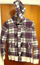 ROXY juniors small hooded sweatshirt purple plaid hoodie embroidery Quiksilver