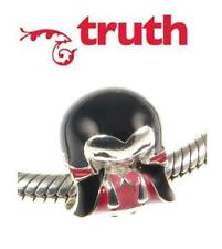 Genuine TRUTH PK 925 sterling silver and enamel VAMPIRE charm bead, halloween