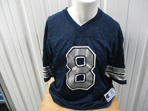 VINTAGE CHAMPION DALLAS COWBOYS TROY AIKMAN #8 XL/48 BLUE JERSEY PREOWNED 1995