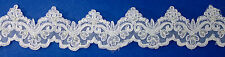 """3¼"""" White Lace Trim Beaded Sequins By the Yard Bridal Embroidered  Faux Pearls"""