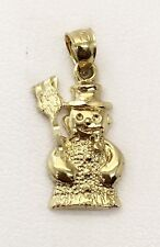 14K Yellow Gold Snowman Charm Pendant 22 MM, 1.6 Grams, Womens, Children