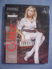 Conte Fantasy Ornament Fancy Pattern Pantyhose Size 2 in Gray