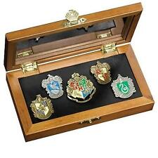 HARRY POTTER Licensed Deluxe HOGWARTS School & HOUSE Crest 5pc Pin COLLECTOR SET