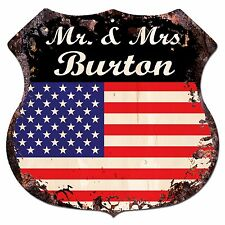 BPLU0255 America Flag MR. & MRS BURTON Family Name Sign Home Decor Gift