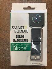 Smart Buddie Sport Band For Fitbit Blaze Black Leather Adjustable Strap *New*