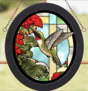 Hummingbird & Geraniums Stained Glass Art by Rosemary Millette for Wild Wings