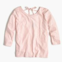 New J Crew 3/4 Sleeve Sheer Pink Tie Back Blouse T Shirt Cotton Blend NWT