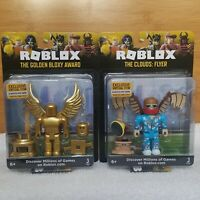 NEW SEALED ROBLOX THE GOLDEN BLOXY AWARD & THE CLOUDS FLYER ACTION FIGURE BUNDLE
