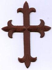 Fleur de lis Cross - Brown - Religious - Iron on Applique/Embroidered Patch