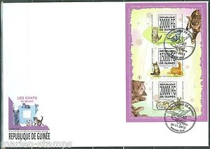 GUINEA 2013 DOMESTIC CATS SHEET OF THREE FIRST DAY COVER