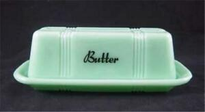 Jadeite Glass Stick Butter Dish