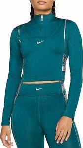 NIKE PRO HyperWarm 1/2 zip long sleeve top Women's Green - BV5669-347 - Large