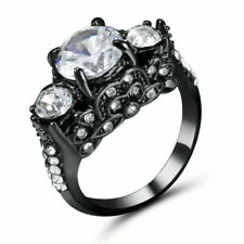 Size6 Black Rhodium Plated Round Cut Wedding Engagement Ring Anniversary Propose