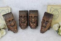 Set of 4 Antique XVIII Wood carved DEVIL gothic figurines head portrait ornament