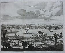 Original antique print,  INDIA, GUJARAT, SURATTE, SURAT Baldaeus, Churchill 1744