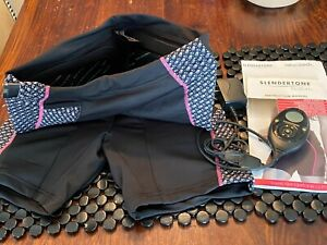 SLENDERTONE BOTTOM - BLACK W/ PINK TRIM TONING SHORTS & INSTRUCTION MANUAL -NICE