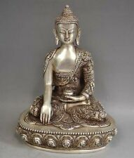SUPERB OLD Tibetan Silver Sakyamuni Buddha Statue antique excellent Statues