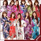 Plus size women Satin Dressing Gown Wedding Bride Bridesmaid Floral kimono Robe