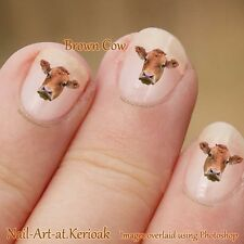 Cow nail Art Stickers Decals Farm Animal Nailart, brown cow