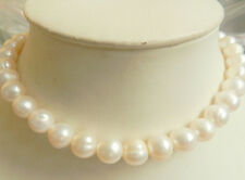 """New 14K Solid Gold Clasp 10-11MM White Akoya Pearl Necklace 18"""""""