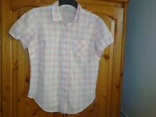 Peach and white gingham check lightweight summer shirt, PAPAYA, size 12