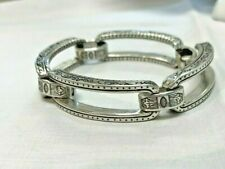 Brighton Large Open Rectangle Thick Links Etched Ornate Bracelet Rare