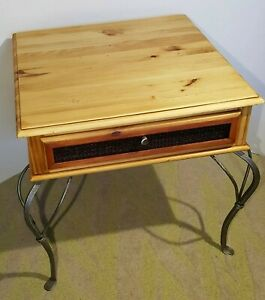 Custom Solid Wood & Cast Iron Accent End Side Table Nightstand With Drawer