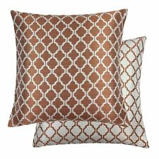 "JACQUARD MOROCCAN-STYLE PATTERNED ORANGE WHITE 18"" - 45CM CUSHION COVER"