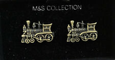 PAIR OF CUFFLINKS SHAPED LIKE STEAM ENGINES IN COPPER COLOUR METAL FROM M&S -NEW