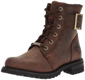 Harley Davidson Womens SYLEWOOD Motorcycle Riding Lace Zip Brown Leather Boots