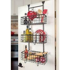 3 Basket Organizer Over The Door Wall Mount Wrought Iron Storage Pantry Kitchen