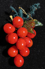 Vintage Art Glass Miniature Beautiful Hand Crafted Red Glass Grapes For Crafts