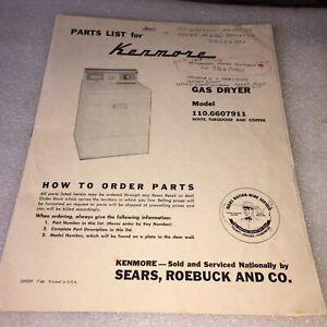 1966 SEARS KENMORE GAS DRYER MODEL 110.6607911 INSTALLATION & PARTS MANUAL