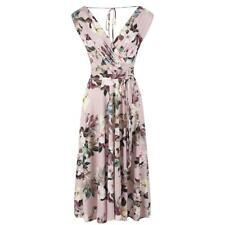 Pink Vintage Dusky Pink 1950s Retro Wedding Floral Slinky Wrap Swing Dress 8-20