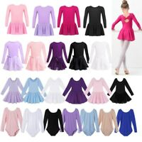 Girls Classic Ballet Long Sleeve Leotard Dress Gymnastics Dance Chiffon Skirt