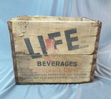 Vintage LIFE BEVERAGES COMPANY Wooden Box Soda Pop Wood Crate