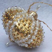 Vtg Heavy Gold Beaded Sequin Bejeweled Satin Silk Christmas Ornament B4
