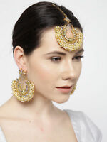 Indian Bollywood White Color Earrings Maang Tikka Set Fashion Wedding Jewelry