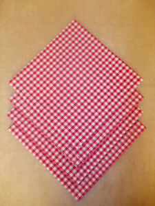 """Napkins Set of 4 Red Gingham Fabric 19"""" x 19"""" Square (65% Poly 35% Cotton)"""
