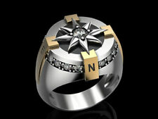 NEWS Compass Men's Biker Star Ring Oxidized In 925 Sterling Silver