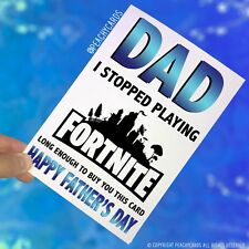 Fathers Day Greeting Card Playing Fortnite Teenage Game Funny Comical Dad PC417