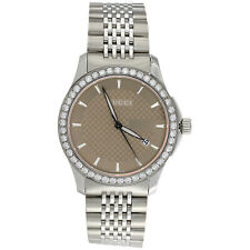 Gucci Ya126406 Brown Dial Date Mens Diamond Watch G-Timeless 38mm S. Steel 2 CT.