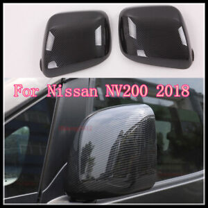 ABS CARBON FIBER SIDE DOOR REARVIEW MIRRORS COVER TRIM FOR NISSAN 2018 NV200
