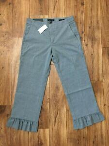 BANANA REPUBLIC Logan Crop Stretch Pant with Ruffled Hem Grey Size 4 #875062