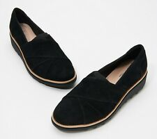 Clarks Collection Women's Sharon Form Suede Wedge Loafer Size 10M Black